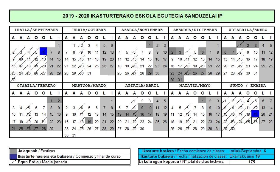 Calendario del curso 2019-20